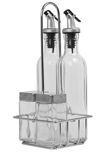 oil and vinegar dispensers 5 piece combo set includes glass cruet set and salt and pepper. Black Bedroom Furniture Sets. Home Design Ideas