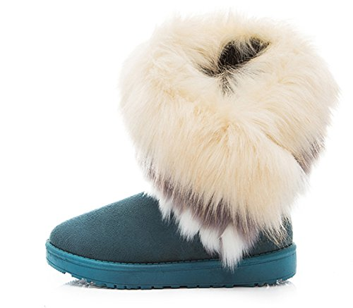 Another Summer Women Winter Boots High Long Snow Ankle Boots Faux Fox Fur Shoes Green Zys6e