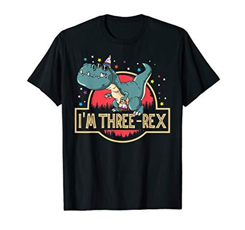 Kids Rex Com (Three Rex T-Rex Birthday T-Shirt 3 Year Old Boy Girl)