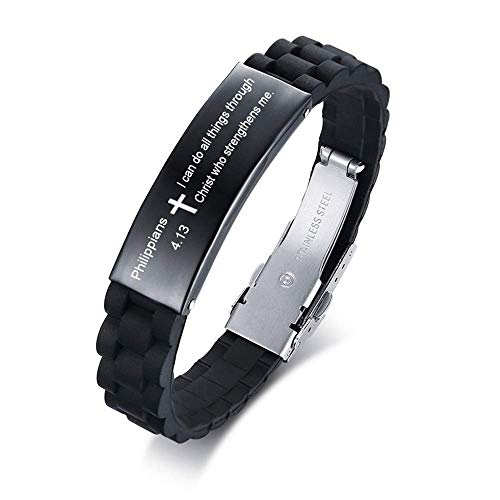 XUANPAI Adjustable Silicone English Religous Scripture Quote Bible Cross Engraved Bracelet Inspiring Gift for Men Women (I can do All Things Through Christ who Strengthens me.) (Bible Verse On Beauty Of A Woman)