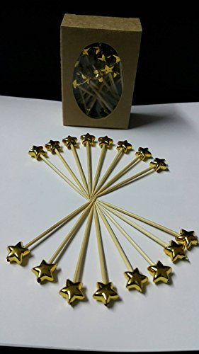 Bamboo - Decorative, Gold Star, Bamboo Picks 2.75