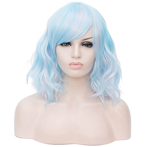 BERON 14'' Women's Bob Curly Wig with Bangs for Women Halloween Cosplay Wig for Daily Use Synthetic Wigs (Blue Mixed Pink)