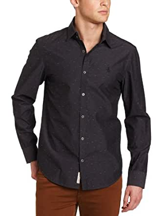 Original Penguin Men's Long Sleeve Woven Shirt, True Black, Small