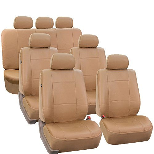 (FH Group FH-PU002-1217 3 Row PU Leather Car Seat Covers w. 7 Headrests, Airbag compatible and Split Bench, Solid Beige color- Fit Most Car, Truck, Suv, or Van)