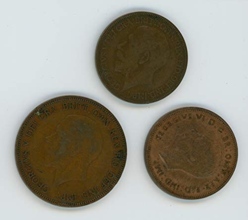 (UK 1925, 1928, 1939 Lot of (3) Great Britain Half Pennies and One Penny Coins Fine)