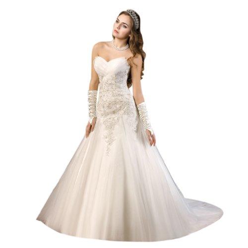 Dearta Une Ligne / Princesse Train De Cour Sweetheart Tulle Femmes Robes De Mariage Blanc