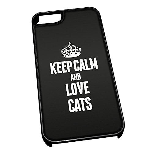 Nero cover per iPhone 5/5S 2404 nero Keep Calm and Love Cats