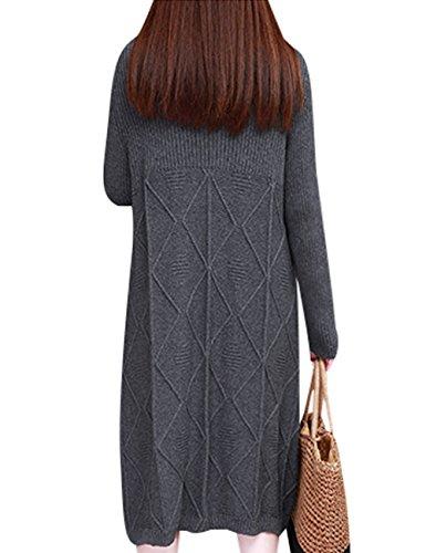 Youlee Mujeres Invierno Otoño Manga larga Vestido de suéter Estilo 2 Gris