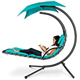covered patio ideas Best Choice Products Outdoor Hanging Curved Chaise Lounge Chair Swing for Backyard, Patio w/ Built-In Pillow, Removable Canopy, Stand - Teal