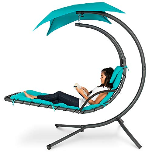 (Best Choice Products Outdoor Hanging Curved Chaise Lounge Chair Swing for Backyard, Patio w/ Built-In Pillow, Removable Canopy, Stand - Teal)