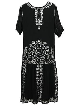 Vijiv Black 1920s Vintage Style Charleston Chiffon Beaded Sequin Flapper Dress