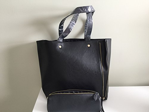 Neiman Marcus Black Zippered Tote Bag With Matching Black Cosmetic Case Set