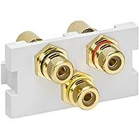 Leviton 41292-3RW Multimedia Outlet System 3-Port RCA Module Feedthrough, White