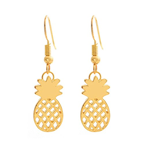(Sterling Silver Plated &18K Gold Plated Smooth Hollow Pineapple Charm Dangle Earring)