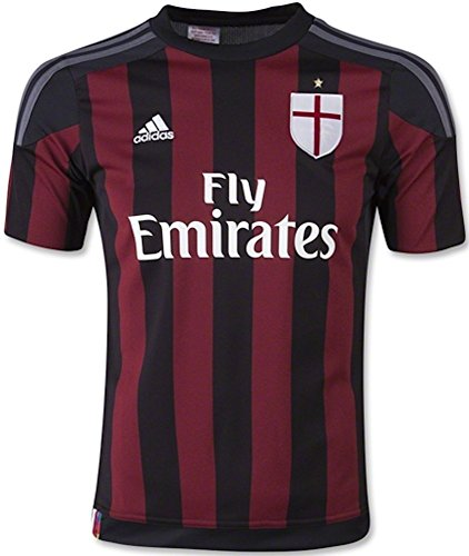 Adidas Youth Ac Milan 15/16 Home Jersey (Large) Black/Victory Red