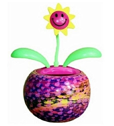 Groovers Multi-Color Mini Solar Dancing Flower with Adhesive Base by Kelli's Gifts