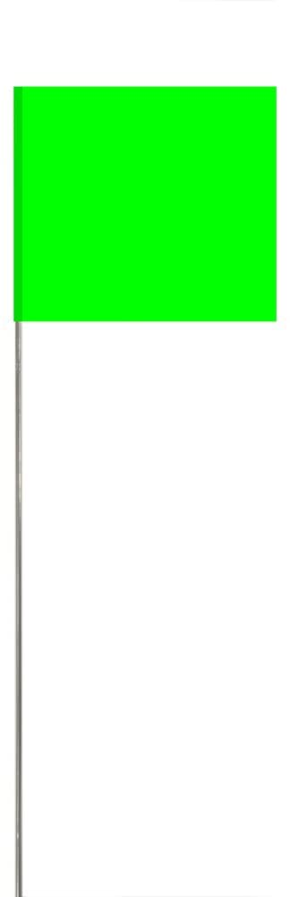 Swanson FLM15100 2.5-Inch by 3.5-Inch Marking Flags with 15-Inch Wire Staffs, Lime 100-Pack