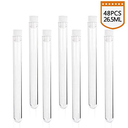 SUPERLELE 48pcs 16x150mm clear plastic test tube with caps for scientific experiments, party, decorate the house, candy storage