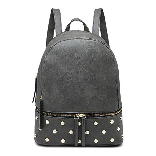 Backpack Shoulder Craze PU Bag Grey Ladies bag Girls Rucksack London Women Travel Leather Fashion xYwYUIq