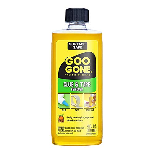 Goo Goo Glue and Tape Adhesive Remover - 4 Ounce - Removes Adhesives Stickers Crayon Glue Tape Gum Window Decals Glitter Labels (Best Way To Remove Glue From Plastic)