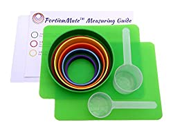 PortionMate Bariatric Care is a set of six color-coded cylinders with volumes from largest diameter to smallest diameter, 1 cup (Green), 3 ounce (Red), 3/4 cup (Yellow), 1/2 cup (Orange), 1/3 cup (Blue), and 1 ounce (Purple).  PortionMate Protein Fi...
