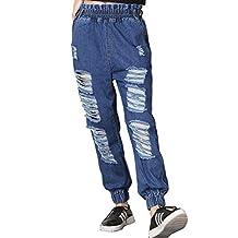 Cresay Women's Elastic Waist Destructed Ripped Denim Jogger Harem Pants Jeans