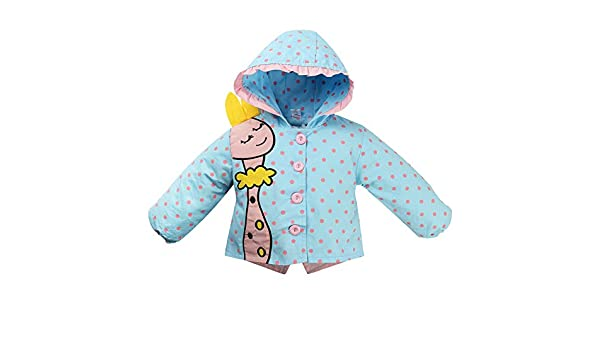 ggudd Girls Coats Hooded Outerwear Printed Dot Deer Embroidery Bowknot Jackets