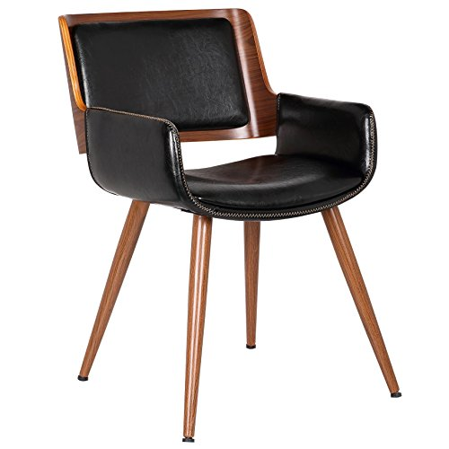 - Porthos Home SKC005A BLK Finnick Dining Chairs with Wooden Open Back, Solid Steel Legs with Poplar Wood Finish and Bi-cast Leather Upholstery with Pick Stitched Accent, One Size, Black