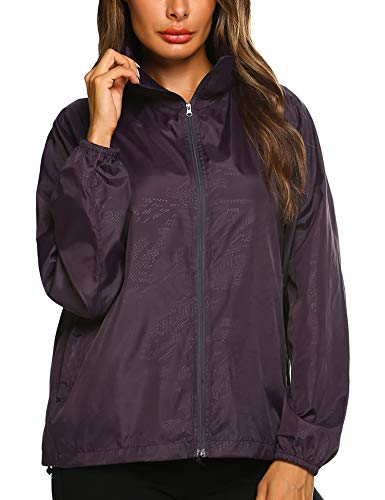 Climbing Hooded Pullover - Zeagoo Rainwear Active Outdoor Hooded Cycling Packable and Lightweight Jacket Purple XXL