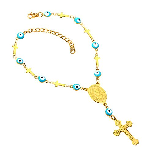 - U7 18K Gold Plated Christian Jewelry Cross Chain Evil Eye Bead Rosary Necklace - with St Benedict Medal and Crucifix