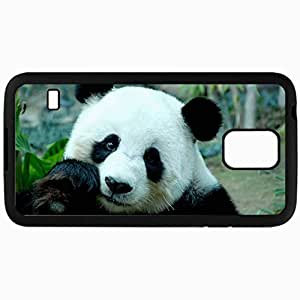Customized Cellphone Case Back Cover For Samsung Galaxy S5, Protective Hardshell Case Personalized Panda Bear Bamboo Mug Black