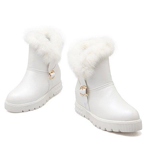 AgooLar Damen PU Niedrig-Spitze Rein Ziehen auf Mittler Absatz Stiefel Weiß