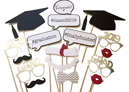 (17PCS 2019 Graduation Grad Party Masks Photo Booth Props Mustache On A Stick by)