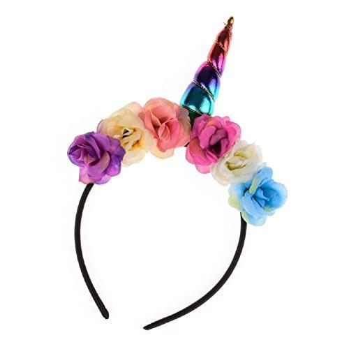Love Sweety Girls Unicorn Horn Headband Rose Floral Crown Costume Headwear (Rainbow)