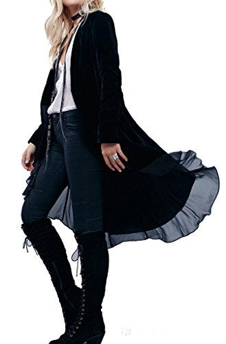 R.Vivimos Womens Ruffled Asymmetric Long Velvet Blazers Coat Casual Jackets Medium Black