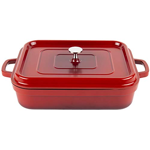 G.E.T. Enterprises Red with Black Interior 5 qt. Induction Ready Rectangular Roaster with Lid Cast Aluminum Heiss Collection CA-010-R/BK (Pack of 1) ()