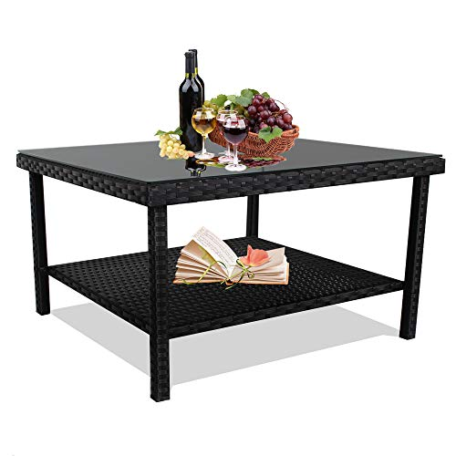 Patio Side Table Black Wicker Big Table for Tea and Coffee Tempered Glass Top Match Patio Sofa