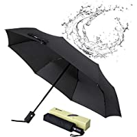 Glamore Compact Travel Windproof Folding Umbrella (Black)