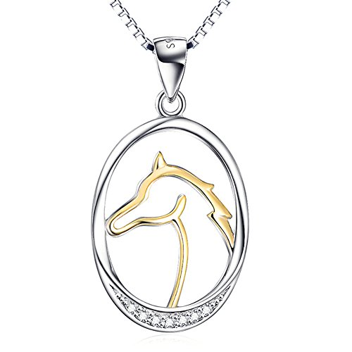 (Two Tone 925 Sterling Silver Horse Heart Cubic Zirconia Charm Pendant Rolo Chain Necklace 18