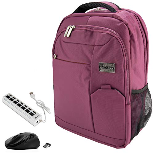 VanGoddy 15.6-inch Anti-Theft Laptop Backpack Purple with USB Hub and Mouse for Dell Inspiron, Latitude, ChromeBook, Vostro, XPS, Precision, Alienware, m15, G3 G5 G7 Gaming 14 to 15.6inch