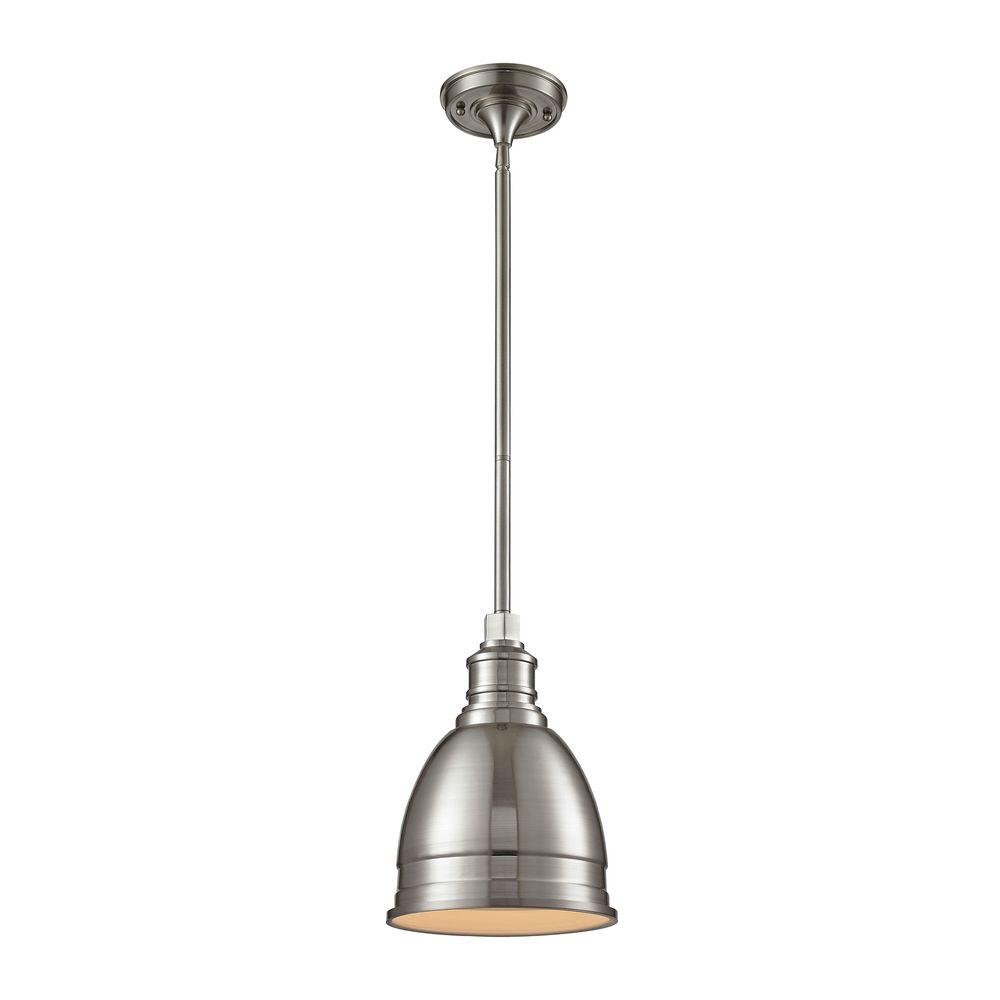 Home Decorators Collection 1-Light Die-Cast Aluminum Hardware Brushed Nickel Restoration Pendant with Open Bottom