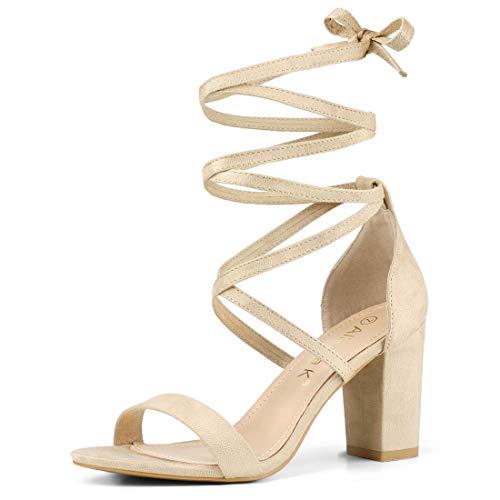 Allegra K Women's One Strap Block Heel Lace Up Beige Sandals - 6.5 M - Beige Suede Lace