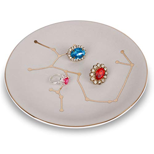 Tenforie Jewelry Dish Ceramic Ring Holder Constellation Trinket Tray Organizer Home Decor Dish for Birthday Wedding Mother's Day Christmas etc. (Sagittarius)