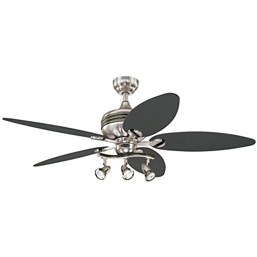 Westinghouse Lighting 7234220 Xavier II 52-Inch Five-Blade Indoor Ceiling Fan with Three Spot Lights, Brushed Nickel with Gun Metal Accents ()