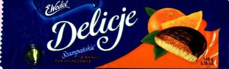 Delicje - Soft Biscuit Topped with Chocolate - Orange Filling 136g