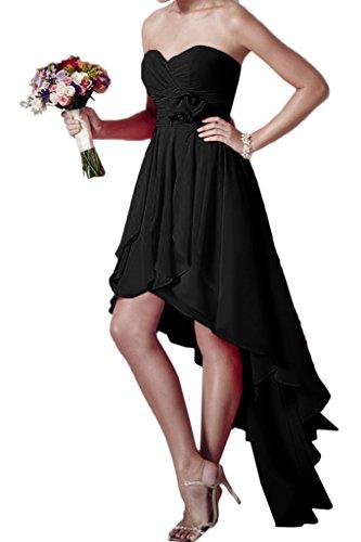 ivyd ressing Mujer Hi-Lo Forma de Corazón Flores gasa vestido de fiesta Prom vestido fijo para vestido de noche negro