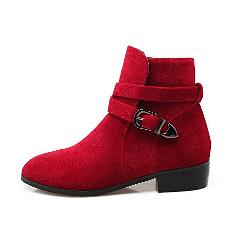 Allhqfashion Women's Frosted Buckle Round Closed Toe Low-Heels Low-Top Boots Red fh9Ide