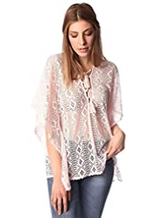 Q2 Women's Pink kimono top in crochet with lace tie