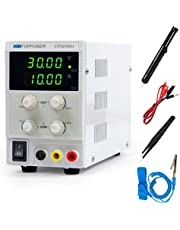 DC Power Supply Variable Bench Lab Adjustable Switching Regulated 30V 5A with 4 Bit Digital Readout LCD Display 110V/220V with Alligator Leads Desoldering Pumps Tweezers Electrostatic