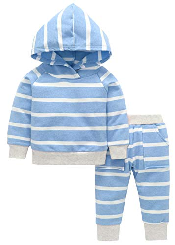 ter Outfit Set Long Sleeve Striped Hoodie Sweatshirt Tops + Pants Infant Babies Fall Clothes Sets (0-6 Months, Blue Striped) ()